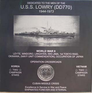 LOWRY Plaque on the wall of the NIMITZ museum in Fredricksburg, TX
