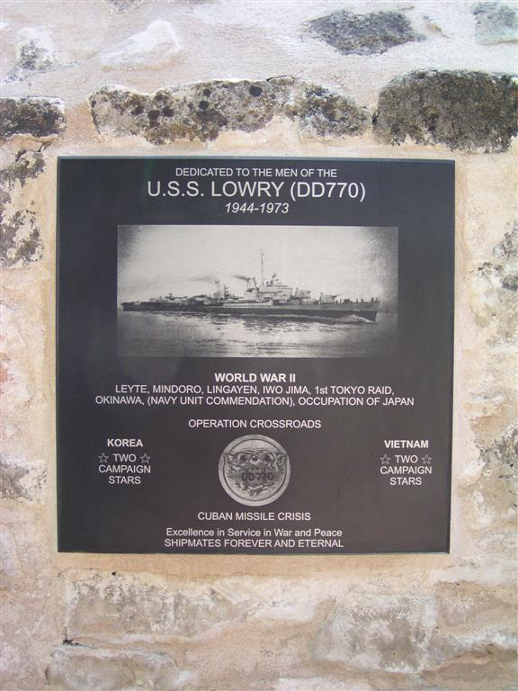 LOWRY plaque at NIMITZ museum in Fredricksburg, Texas